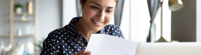 Female business owner doing accounting
