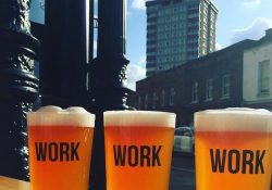 3 pints of beer with the word WORK on each glass