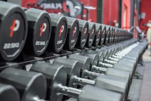 A close up of dumbells in a gym