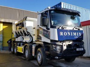 A Ronimix branded concrete pump truck