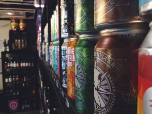 Stacks of Brew Cavern cans