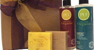 2 bottles of shampoo and condition and 2 bars of soap from Powerful Organic