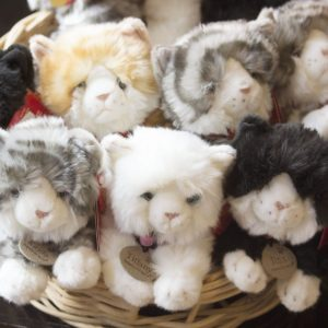 A basket of cat teddy bears from Present Purrfections
