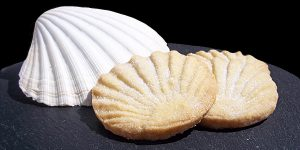 A pair of Aberffraw biscuits in the shape of a sea shell, on a table next to a sea shell