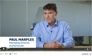 A screenshot of a video of Paul Marples, the MD of Authenticate talking about NPIF