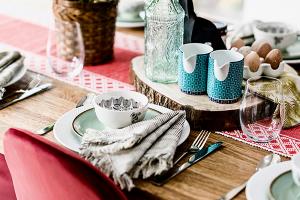 Dining crockery laid on a table