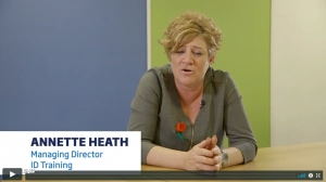 A screenshot of a video of Annette Heath, the managing director of JD Training Solutions