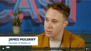 A screenshot of the video of James Mulvany, the founder of Radio.co