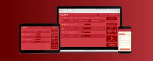 A laptop screen, tablet and smart phone with the Qudini web page displayed on all devices