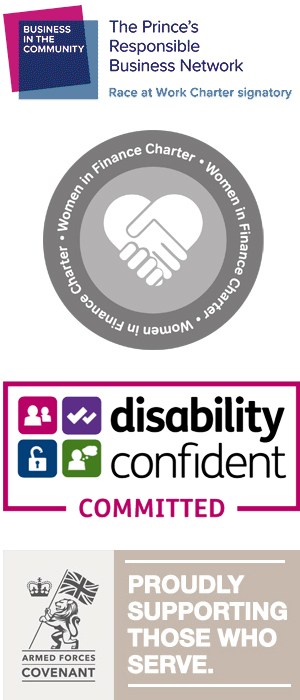 Logos for Women in Finance Charter, Disability Confident and Armed Forces Covenant