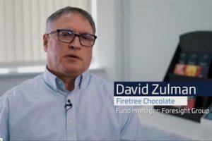 A screenshot of a video of David Zulman of Firetree Chocolate talking about receiving a MEIF loan