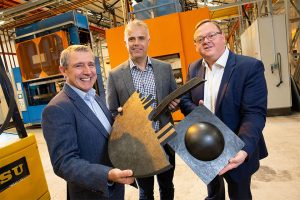 3 men from CFP Composites holding their ultra-lightweight and cost-efficient heat resistant materials