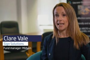 Screenshot of the video of Clare Vale, the Fund Manager for Midven speaking about Sign Solutions