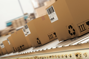 Cardboard boxes on a production line in a packaging warehouse