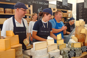 Mrs Kirkham's Lancashire Cheese selling their products at a food market