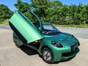 A green electric car designed and made by Riversimple Movement