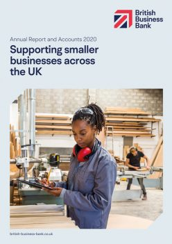 Front cover of the British Business Bank annual report and accounts for 2020