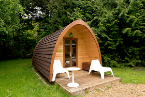 Exterior of a YHA camping pod in the New Forest