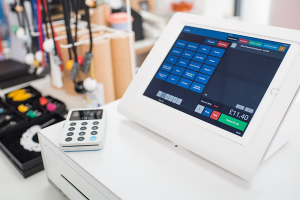 AirPOS's point of sale software being used on a tablet in a store