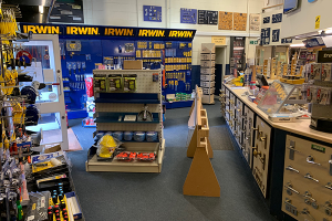 Part of the interior of the Mercia Hardware store, showing various types of stock on the shelves