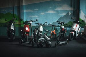 Electric scooters and bikes lined up